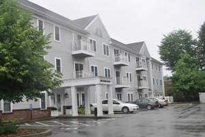 Rental apartment buildings are a part of the mixed use complex at 100 Danbury Road.