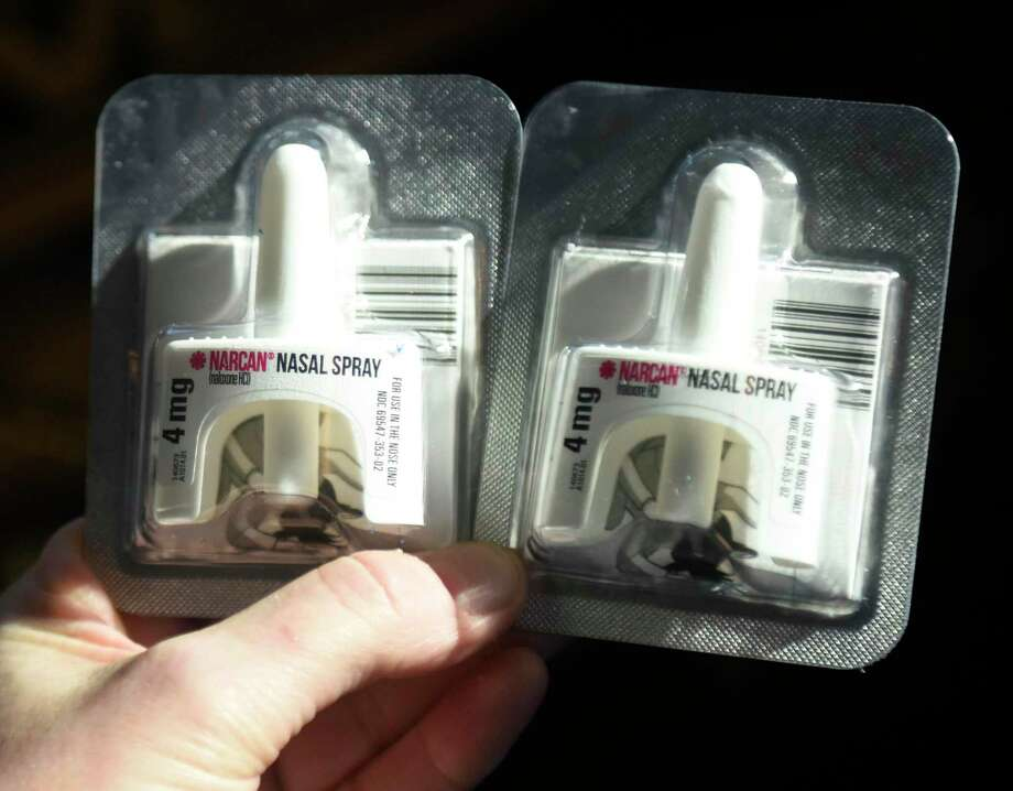 File photo of Narcan nasal spray, taken on Feb. 19, 2020. Photo: Tyler Sizemore / Hearst Connecticut Media / Greenwich Time