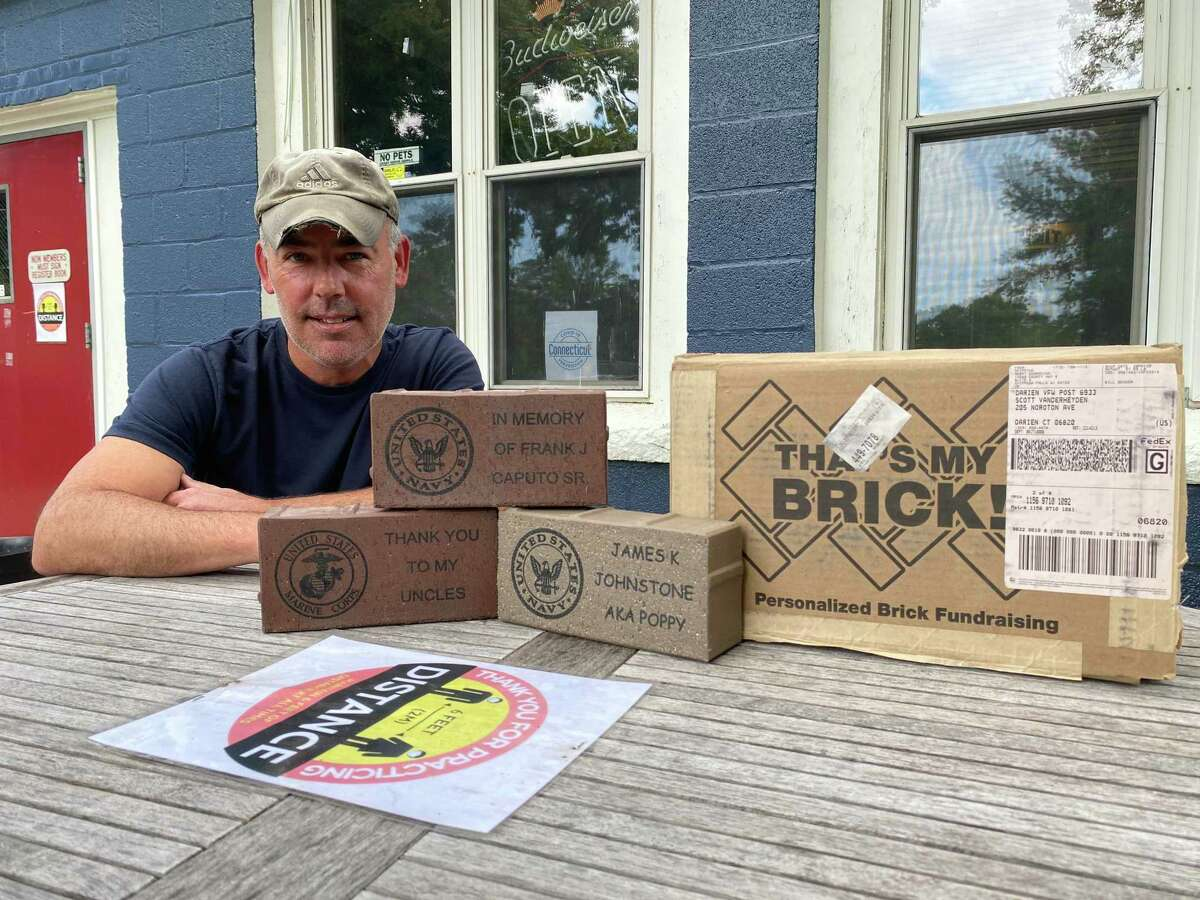 Scott Vanderheyden of the Darien VFW began a fundraising campaign selling personalized bricks in September.