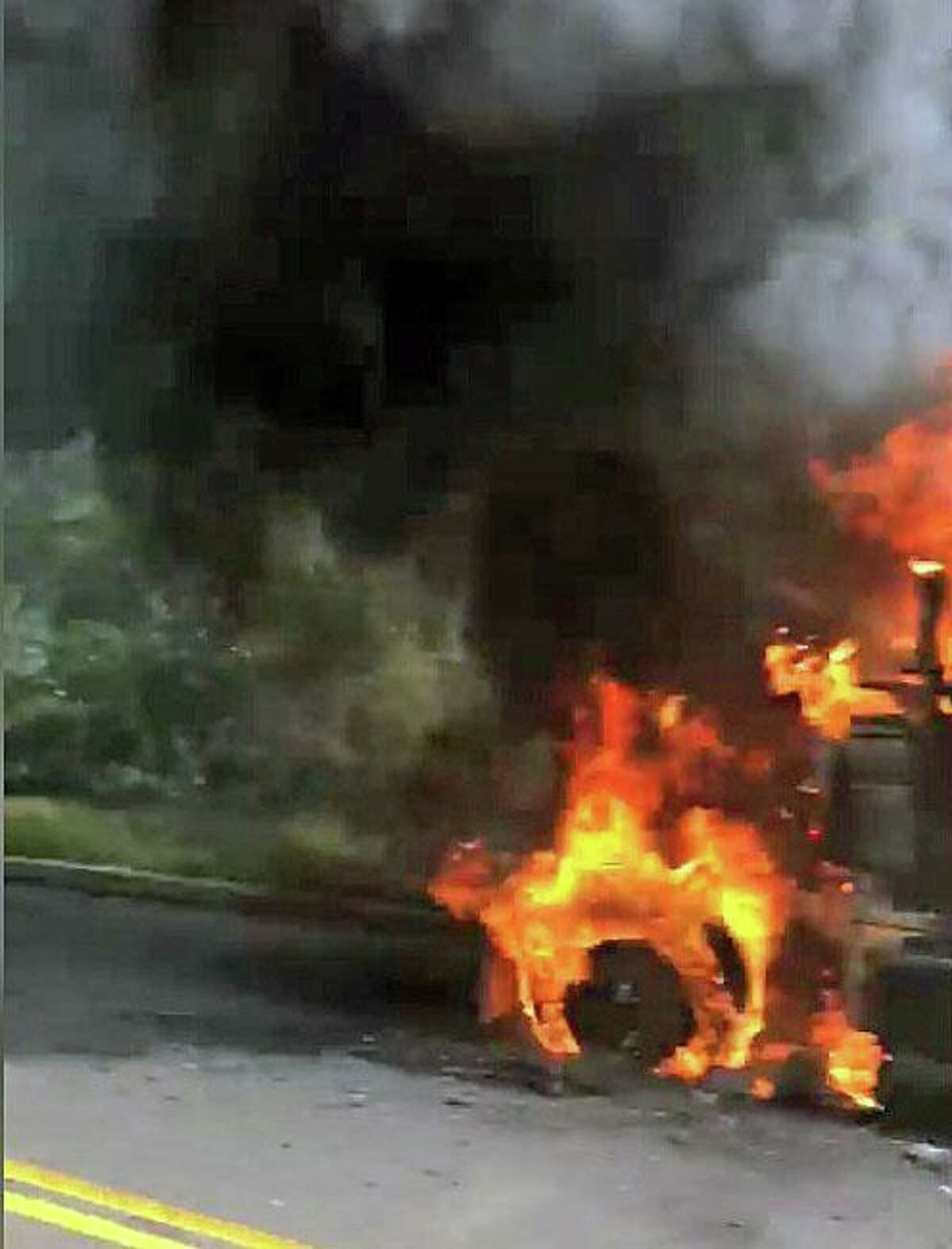 A tractor-trailer fire on Riversville Road in Greenwich, Conn., on Tuesday, Sept. 15, 2020.