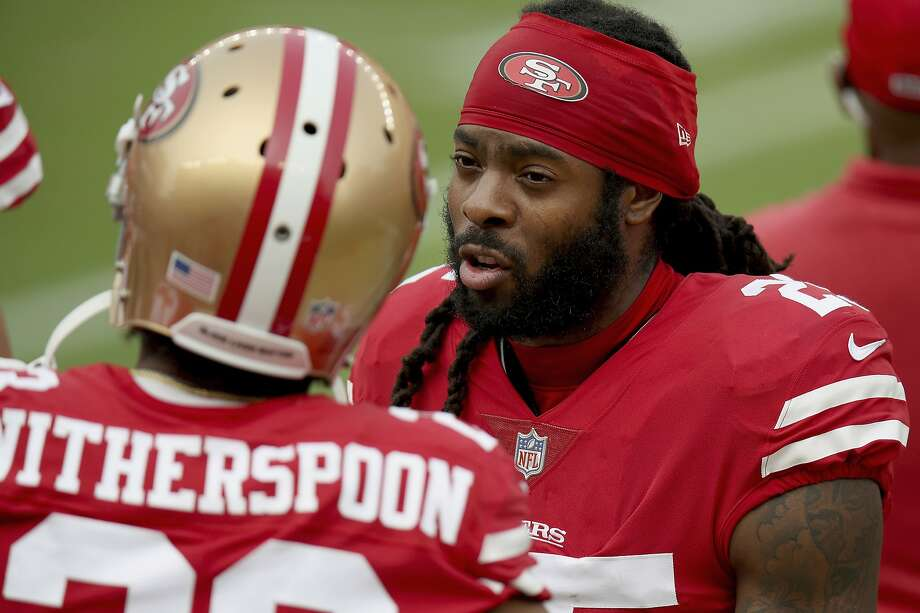 San Francisco 49ers' Richard Sherman (25) talks with San Francisco 49ers' Ahkello Witherspoon (23) on the sidelines during an NFL football game on Sunday, Sept. 13, 2020, in Santa Clara, Calif. (AP Photo/Scot Tucker) Photo: Scot Tucker / Associated Press