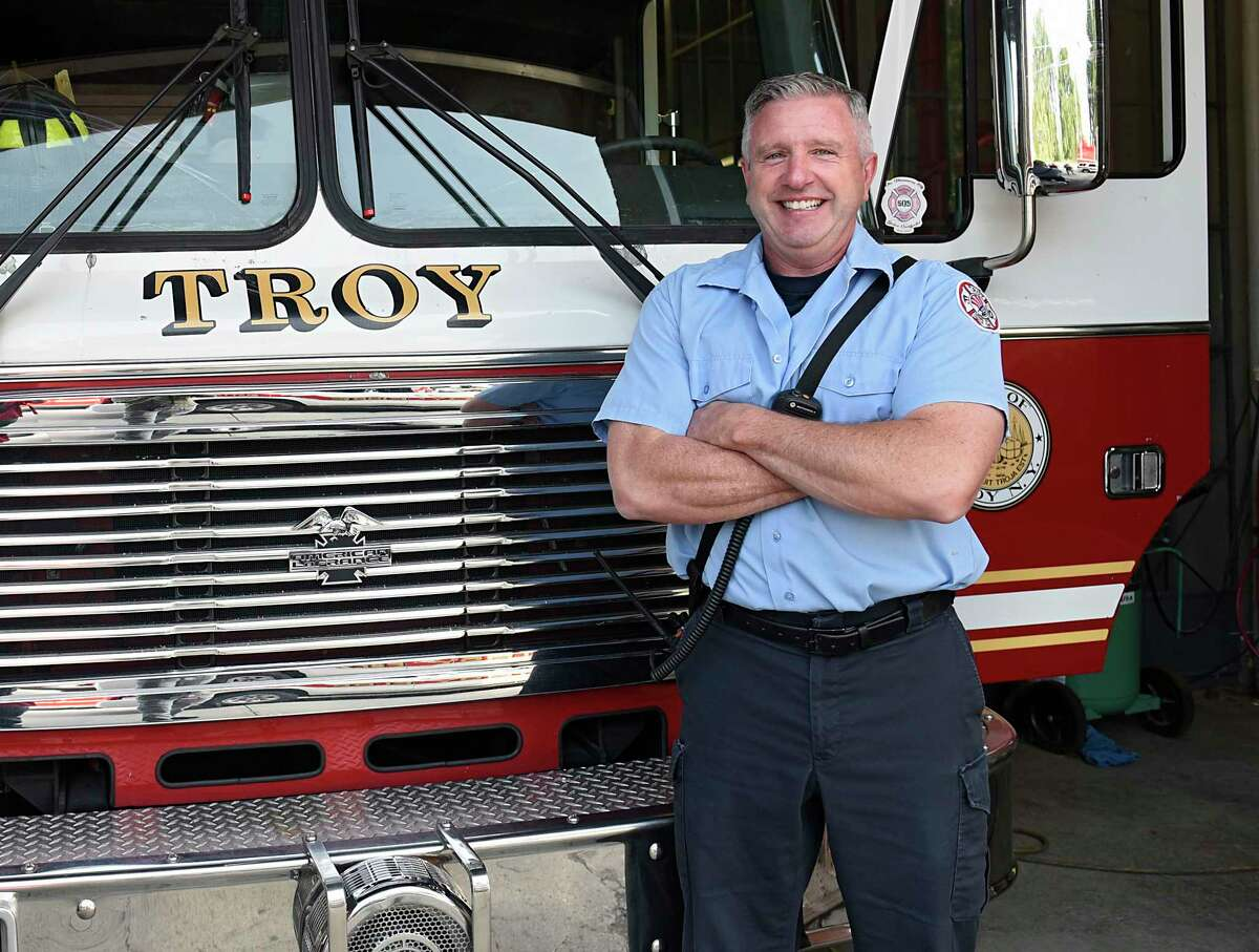 Firefighter Thomas Blake III stands inside the historic Engine 6 Fire House on his last day on the job on Wednesday, Sept. 16, 2020 in Troy, N.Y. At 55, Blake is retiring from the Troy Fire Department. (Lori Van Buren/Times Union)