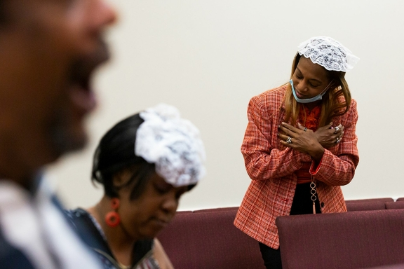 Pastor Doris Gray, 47, participates in a worship service at Sunnyside's First Missionary Baptist Church on Sunday, June 7, 2020 in Houston on the first day the congregation gathered inside the church since COVID-19 outbreak started.