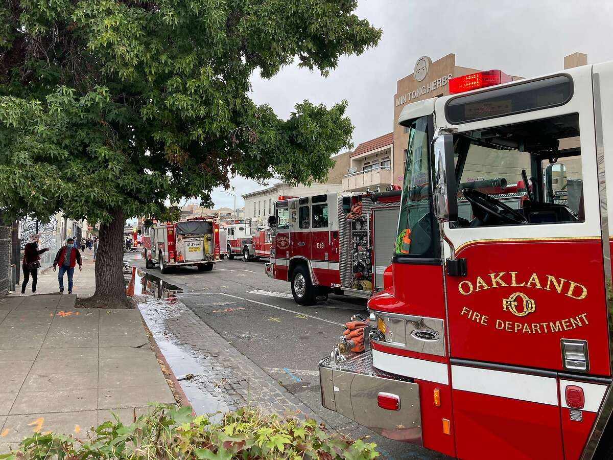 A five-alarm fire burning in Oakland's Chinatown neighborhood Sept. 16, 2020.