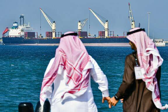 (FILES) In this file photo taken on December 11, 2019, shows an oil tanker at the port of Ras al-Khair, about 185 kilometres north of Dammam in Saudi Arabia's eastern province overlooking the Gulf. - US President Donald Trump said March 31, 2020 he was ready to help resolve an escalating oil price war between Russia and Saudi Arabia that has helped push crude benchmarks to 17-year lows.The threat of a global recession triggered by the coronavirus pandemic had already hammered prices when Riyadh said last month it would raise exports after a production-cut agreement among top producers flopped in early March. (Photo by GIUSEPPE CACACE / AFP) (Photo by GIUSEPPE CACACE/AFP via Getty Images)