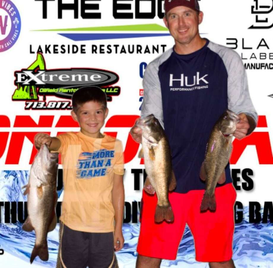 Brad Lanier and Cole Provost won the CONROEBASS Tuesday Night tournament with a stringer weight of 9.00 pounds. Photo: Conroe Bass