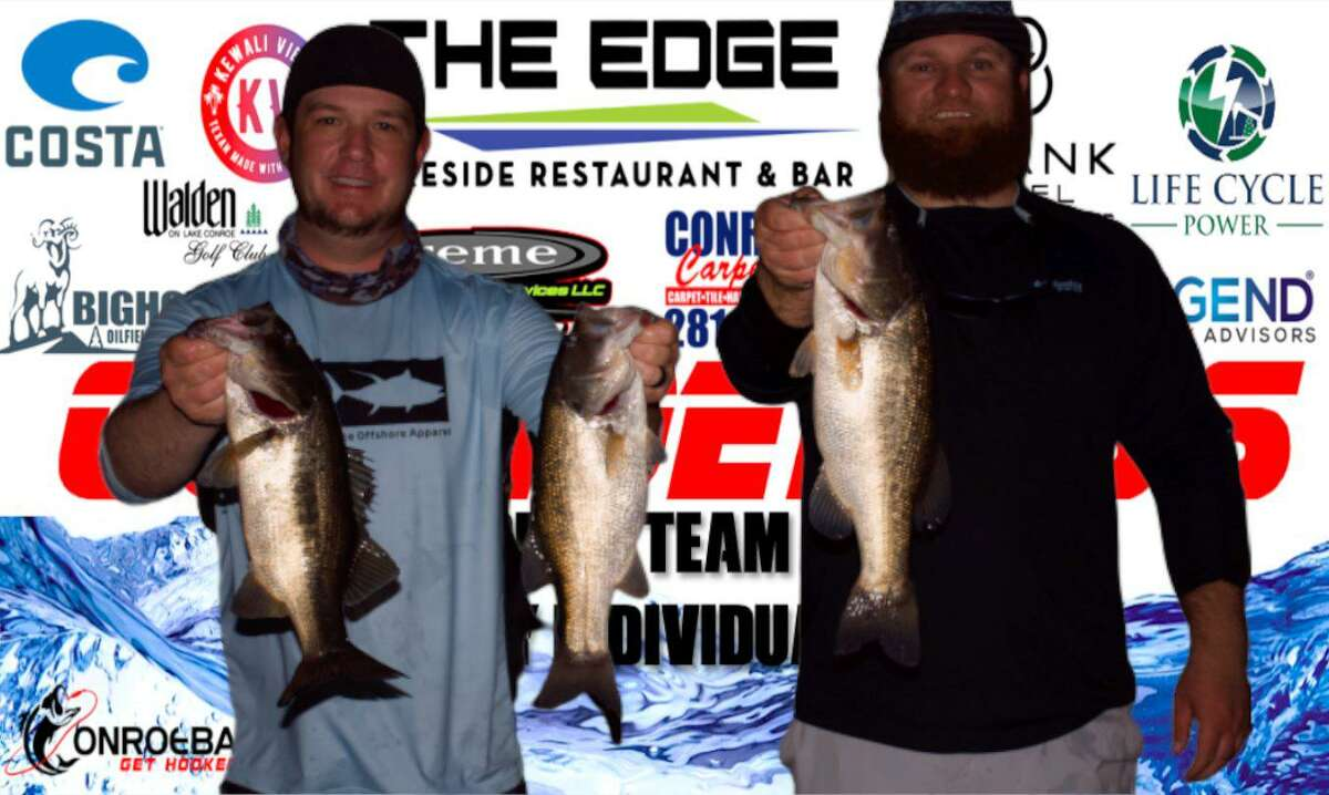 Aaron Self and Brandon Sheridan came in second place in the CONROEBASS Tuesday Night tournament with a stringer weight of 8.77 pounds.