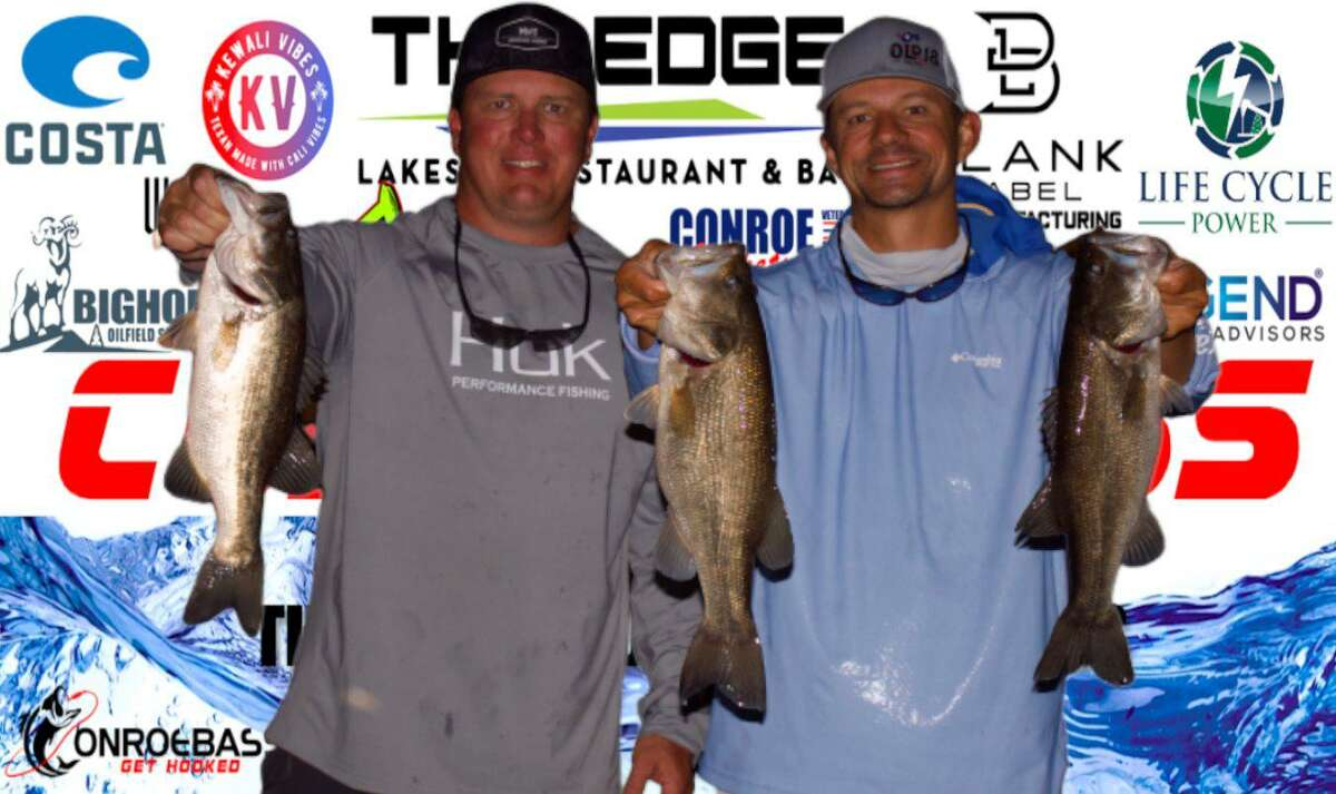 Langston Johnson and Nick Morton came in third place in the CONROEBASS Tuesday Night tournament with a stringer weight of 8.49 pounds.