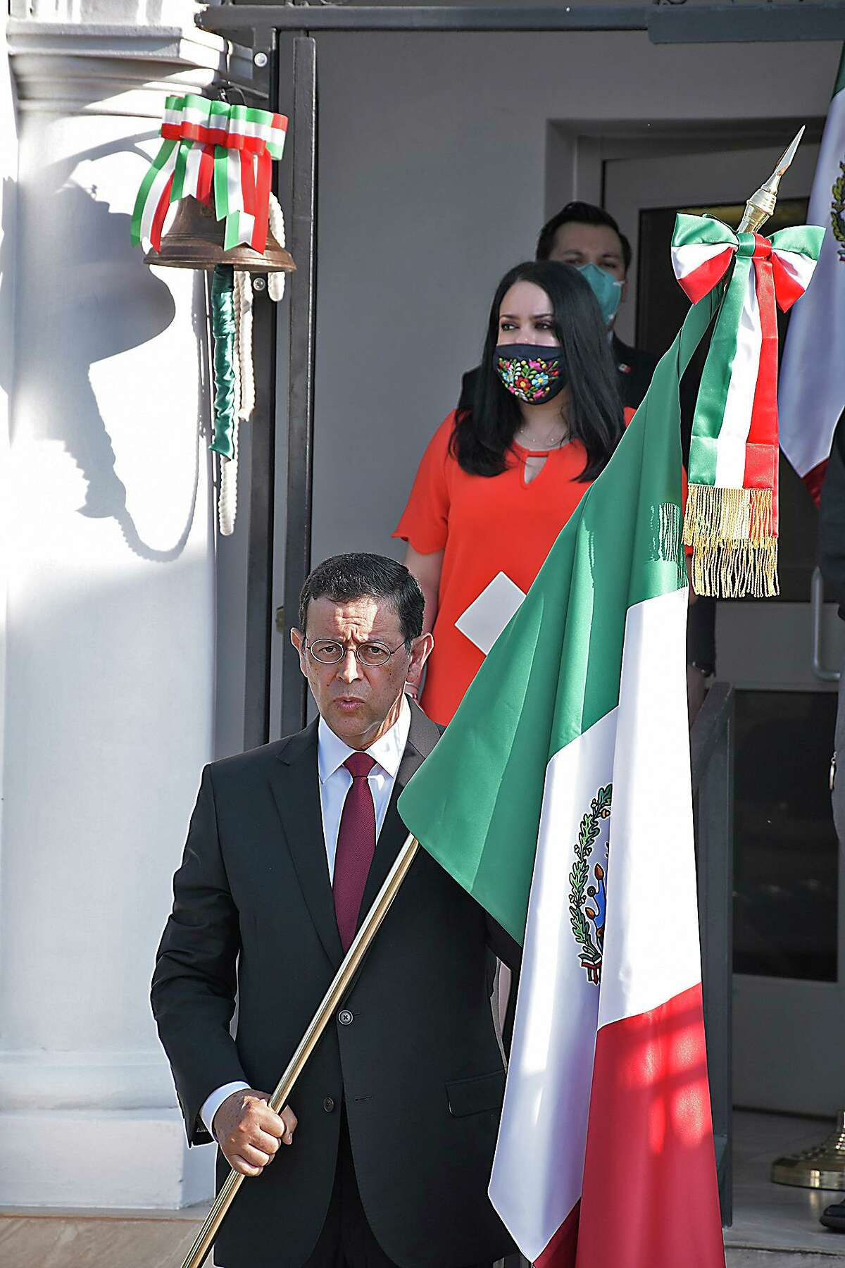 Mexican Consul General at the Mexican Consulate in Laredo, Juan Carlos Mendoza Sanchez celebrated the traditional Grito to mark the 210 Anniversary of Mexico's Independence, Tuesday, September 15, 2020.