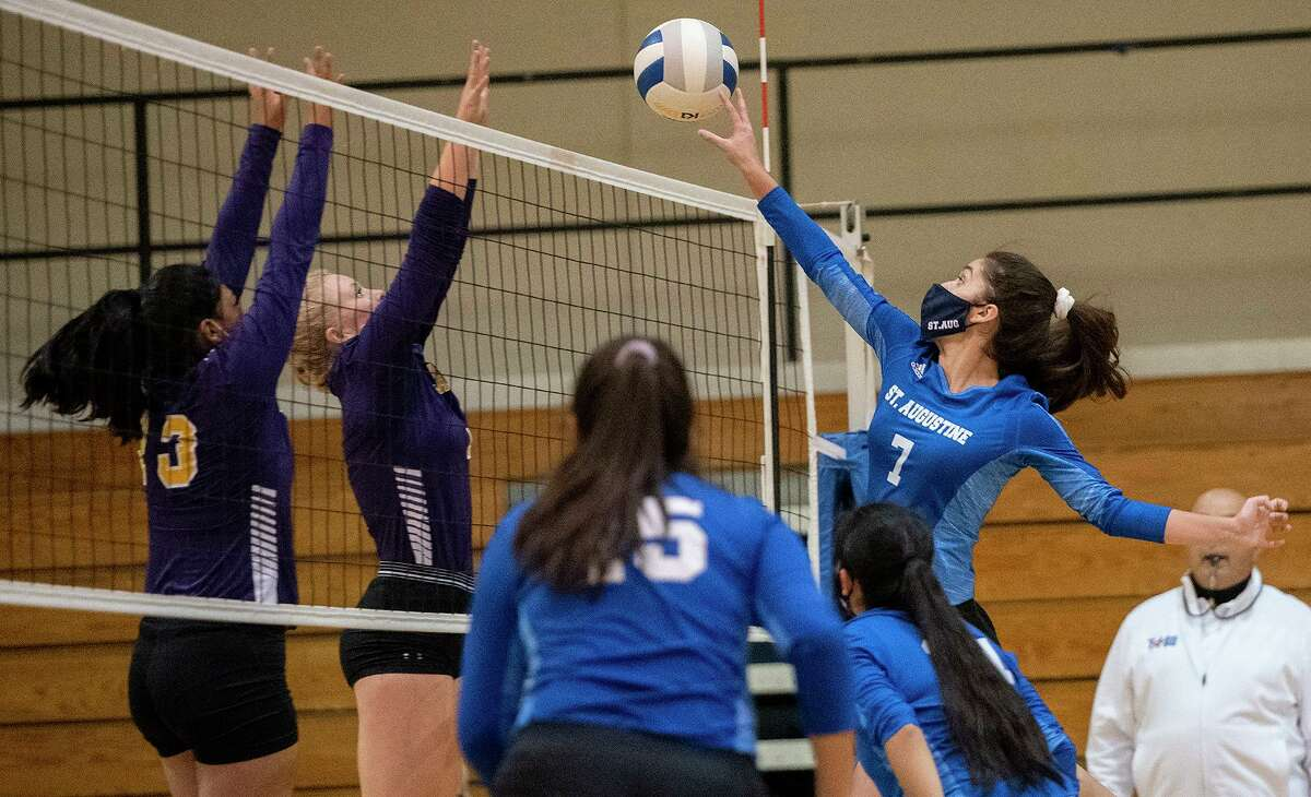 Taylor Meurer recorded 10 kills on Sept. 15 as St. Augustine opened the season with a 3-2 victory over Carrizo Springs.