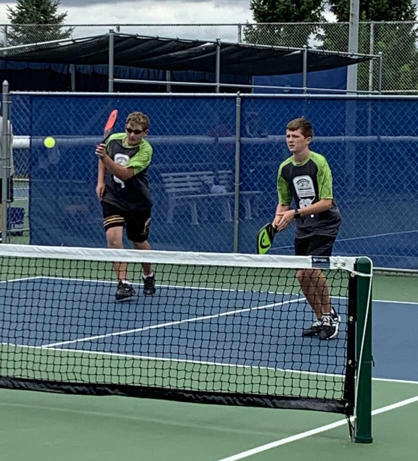 Midland's Andrew Frickey (left) and Austin King compete in men's pickleball doubles at the Meijer State Games of Michigan recently. Photo: Photo Provided
