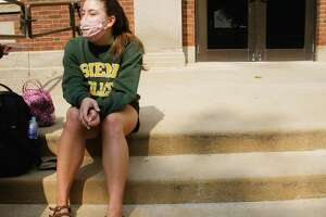 Siena College freshman, Lilly Kronau from Poestenkill talks about following the rules under the pandemic on Wednesday, September 16, 2020, in Loudonville, N.Y.    (Paul Buckowski/Times Union)