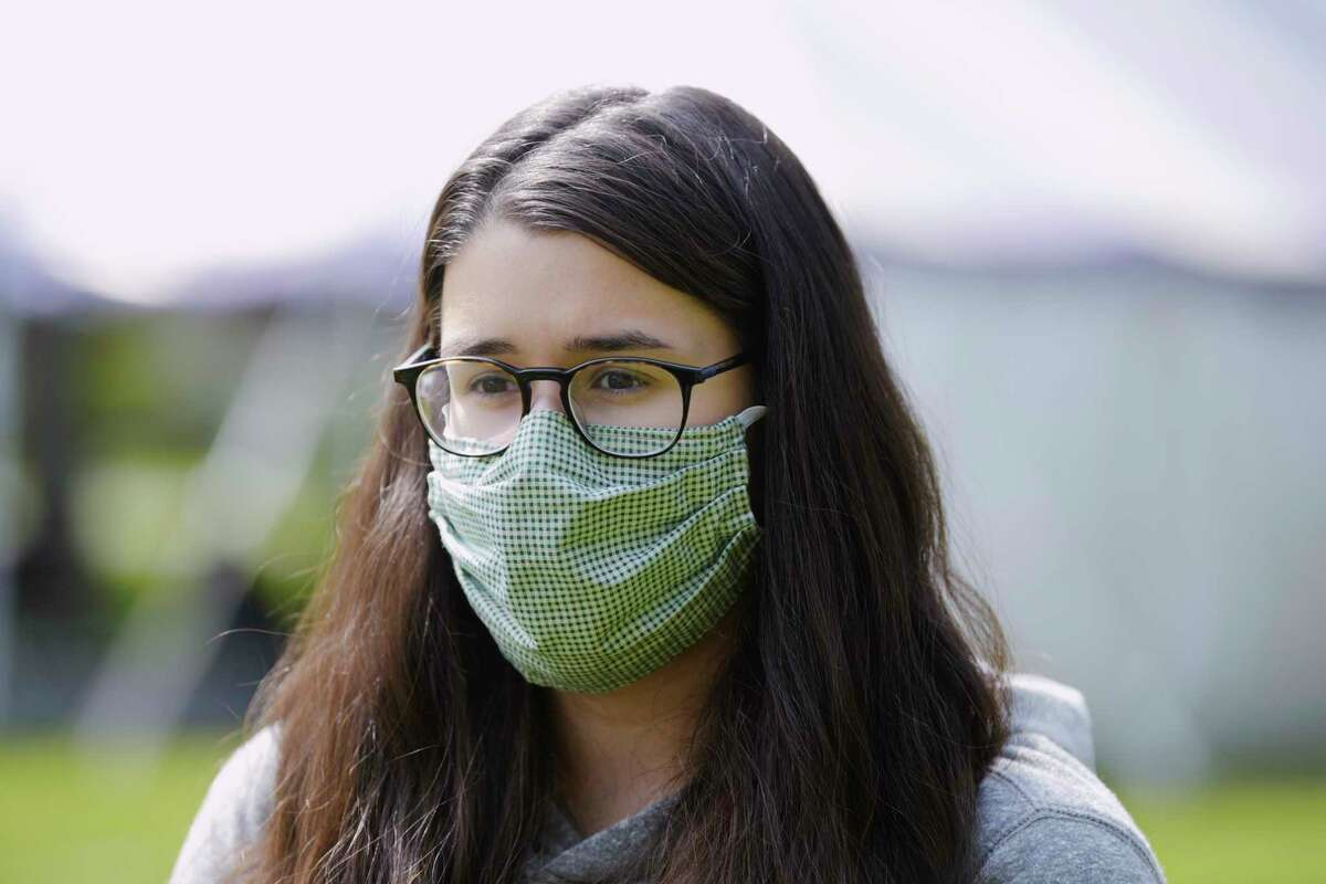 Siena College freshman, Meredith Buono from Valatie talks about following the rules under the pandemic on Wednesday, September 16, 2020, in Loudonville, N.Y. (Paul Buckowski/Times Union)