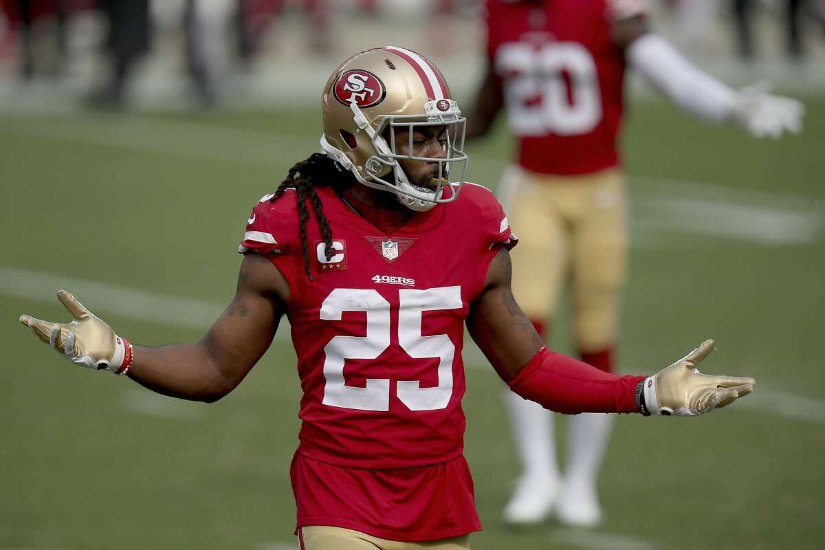 San Francisco 49ers' Richard Sherman reacts during an NFL football game against the Arizona Cardinals on Sunday, Sept. 13, 2020, in Santa Clara, Calif.