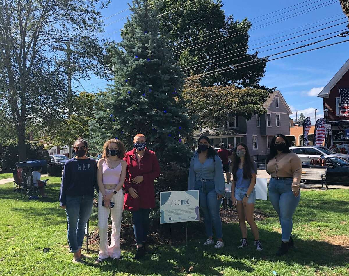 Members of the Fairfield Equity Coalition lighting the Tree of Hope on Sherman Green on Saturday, Aug. 12.