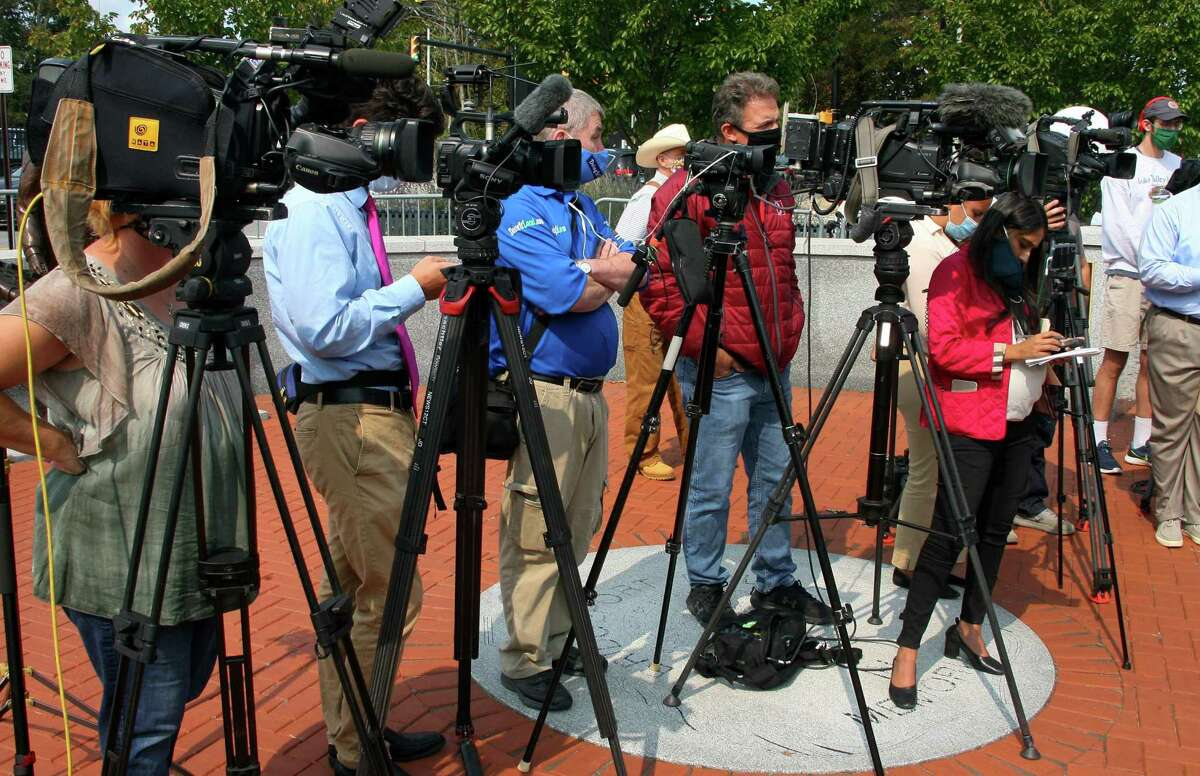 Acting Police Chief Rebeca Garcia speaks to the media in front of police headquarters in Bridgeport, Conn., on Wednesday Sept. 16, 2020. Chief Garcia provided details about an officer with the city's police force for nearly a decade who shot a suspect allegedly assaulting another individual early Wednesday morning.