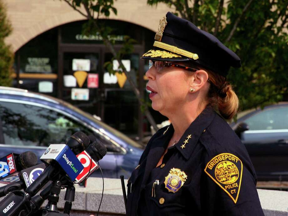 File photo of Acting Police Chief Rebeca Garcia speaking in front of police headquarters in Bridgeport, Conn. Photo: Christian Abraham / Hearst Connecticut Media / Connecticut Post