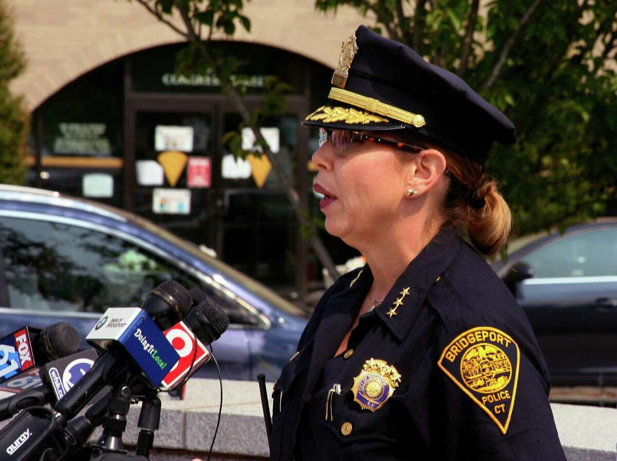 File photo of Acting Police Chief Rebeca Garcia speaking in front of police headquarters in Bridgeport, Conn.