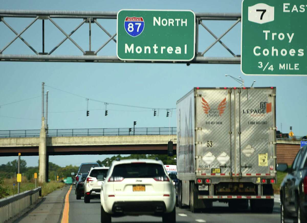 A Lepage Millwork truck from Quebec is seen on I-87 headed north. Vaccinated travelers from the U.S. will be able to cross the Canadian border as of August 9. (Lori Van Buren/Times Union)