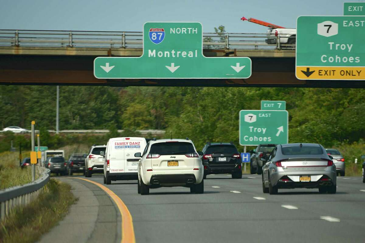 A Montreal sign is seen on a bridge on I-87 headed north. Vaccinated U.S. tourists will soon be able to travel to Canada again. (Lori Van Buren/Times Union)