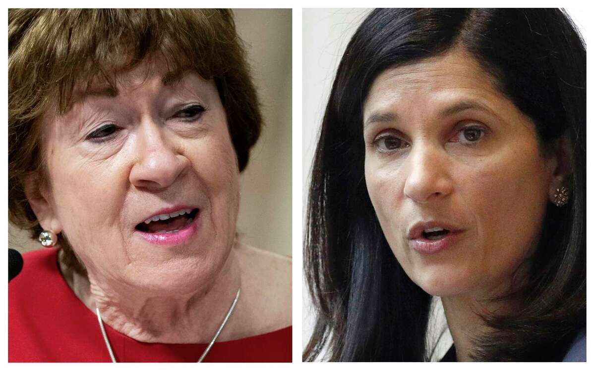This pair of 2020 file photos shows incumbent Republican U.S. Sen. Susan Collins, left, and Maine Democrat House Speaker, right, candidates for U.S. Senate in the Nov. 3 election. Gideon leads the race among likely voters 54 - 42 percent over Collins, who is seeking her fifth term. The results came from a Quinnipiac University poll released Wednesday, Sept. 16, 2020.