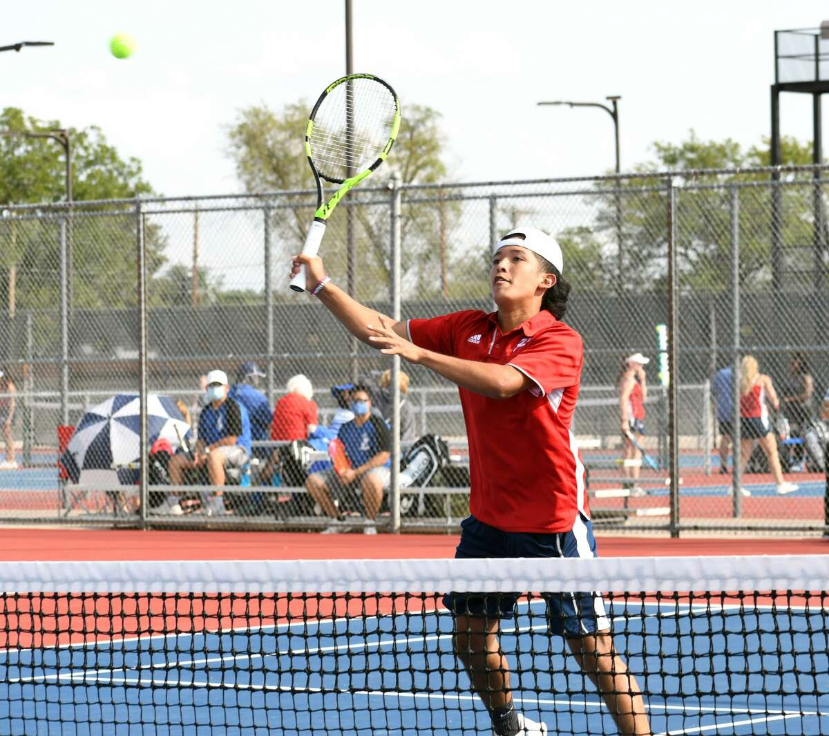 Plainview's Joseph Alcozer hits a return shot during first flight doubles action against Amarillo Palo Duro in a high school tennis dual on Tuesday, Sept. 15, 2020 at Plainview High School.