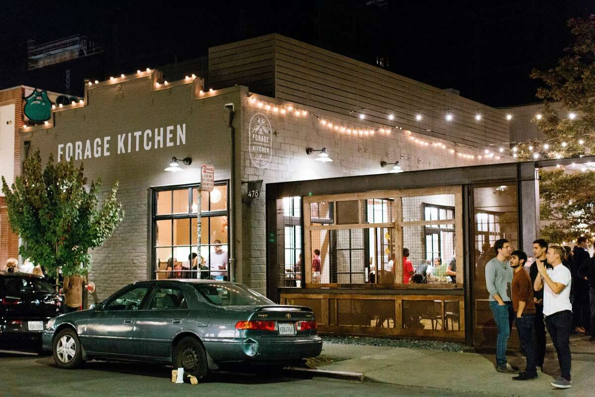 FILE-- First Friday at Forage Kitchen in Oakland on Oct. 5, 2018. Hofkutche opens at Forage Kitchen in Oakland on Sept. 19, 2020. The new beer garden is in partnership with Suppenkuche in San Francisco.