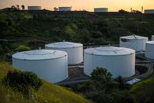 Fuel storage tanks containers stand at the NuStar Energy LP Selby Terminal in Crockett, California, U.S., on Thursday, April 23, 2020. Crude oil rose at the end of a dramatic week that saw prices in New York plunge below zero for the first time in history. Photographer: David Paul Morris/Bloomberg