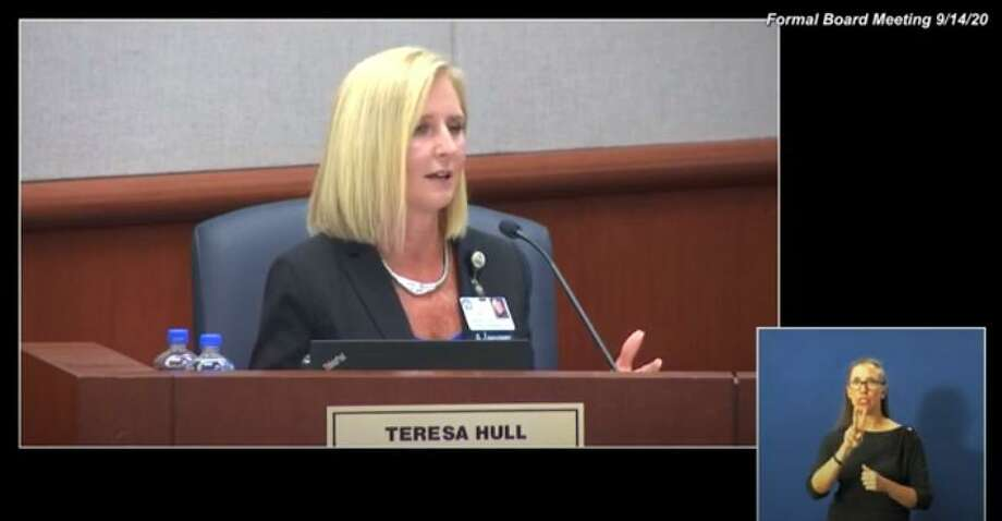 Cy-Fair ISD Chief of Staff Teresa Hull discusses the opening week of CFISD classes during the school board meeting. Photo: Cy-Fair ISD