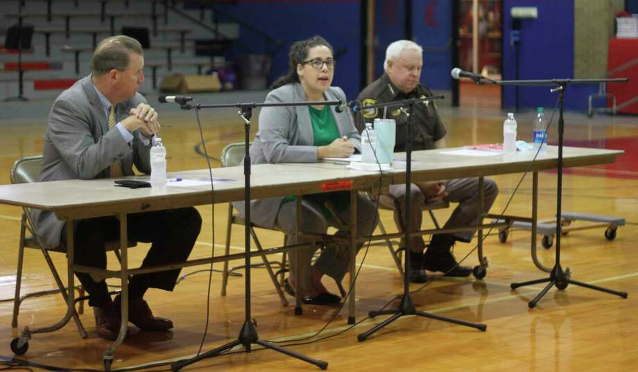 Shayne Machen, prosecutor and child welfare attorney for the Little River Band of Ottawa Indians, speaks during the Constitution Day panel discussion at Manistee Catholic Central School on Wednesday. (Kyle Kotecki/News Advocate)
