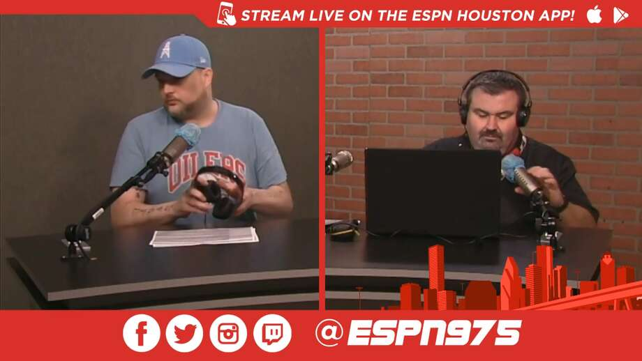 "A screenshot from Twitch of Monday's ""Late Hits with Patrick Creighton and Jayson Braddock"" radio show on 97.5 ESPN Houston. Photo: Twitch.tv/espn975"