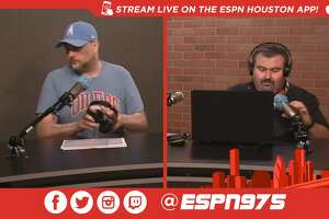 """A screenshot from Twitch of Monday's """"Late Hits with Patrick Creighton and Jayson Braddock"""" radio show on 97.5 ESPN Houston."""