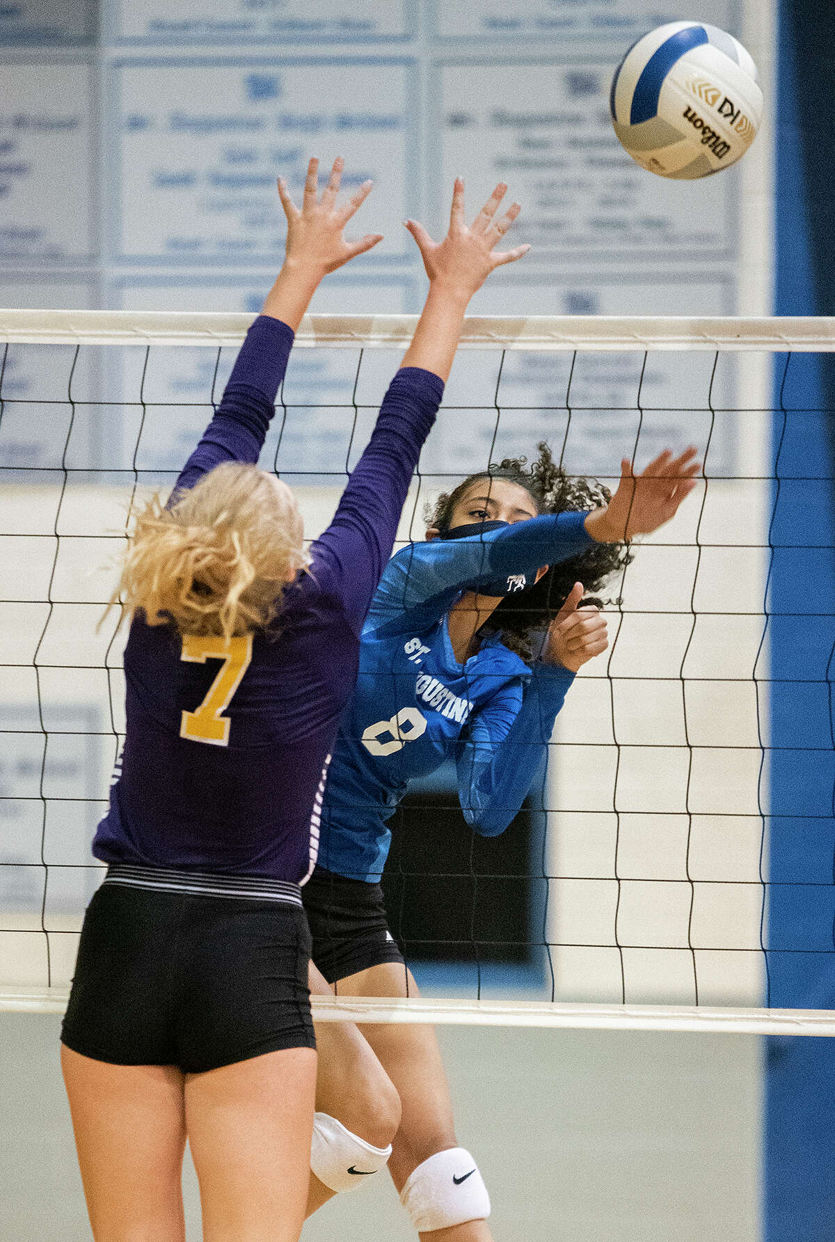 St. Augustine High School Aryana Ledet gets the ball over the net during a game against Carrizo Springs High School Tuesday, Sep. 15, 2020, at St. Augustine High School.