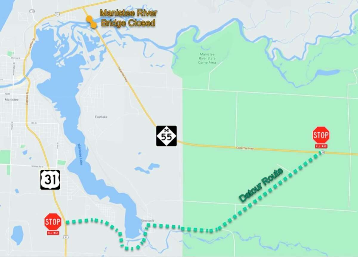 M-55 traffic will be detoured along Stronach Road while the Manistee River bridge is closed. (Courtesy Map/Michigan Department of Transportation)