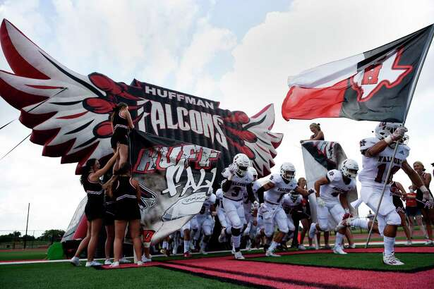 Huffman takes the field to face Stafford in a high school football game, Saturday, Aug. 29, 2020, in Stafford, TX.
