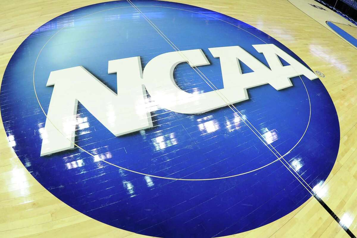 COLUMBUS, OH - MARCH 22: The NCAA logo on the floor before the third round of the 2015 NCAA Men's Basketball Tournament against the Dayton Flyers at the Nationwide Arena on March 22, 2015 in Columbus, Ohio. The Sooners won 72-66. (Photo by Mitchell Layton/Getty Images)