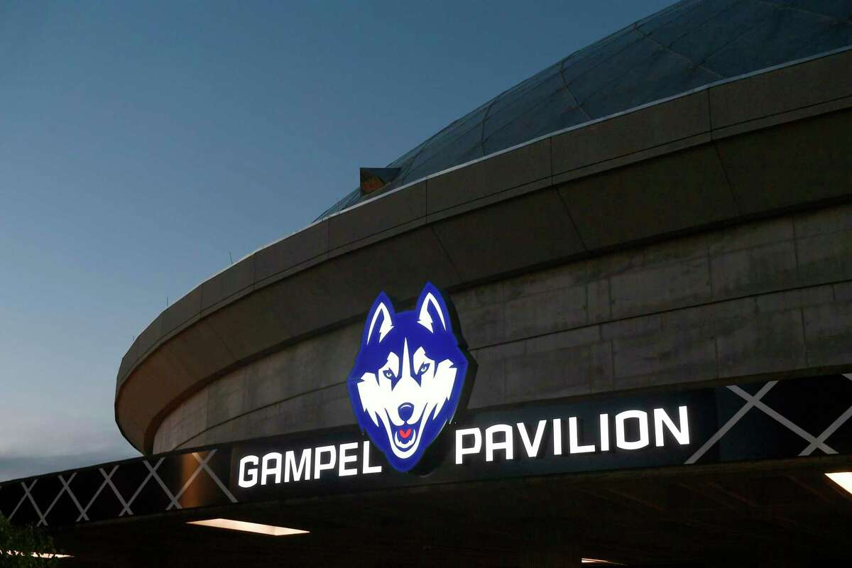 A view outside Gampel Pavilion arena in Storrs.