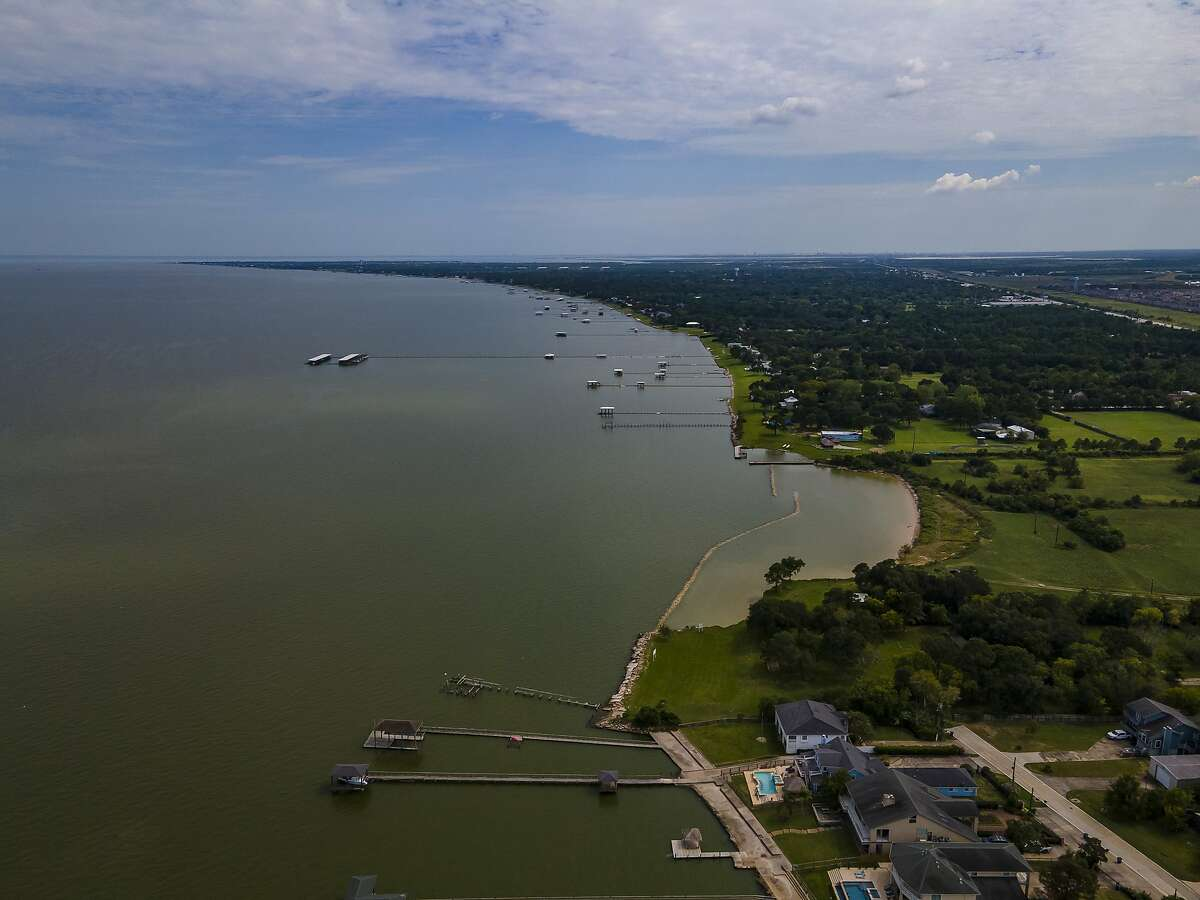 A new break is seen protecting the coast from further erosion from Galveston Bay where the Galveston Bay Foundation has property, Wednesday, Sept. 16, 2020, in Kemah.