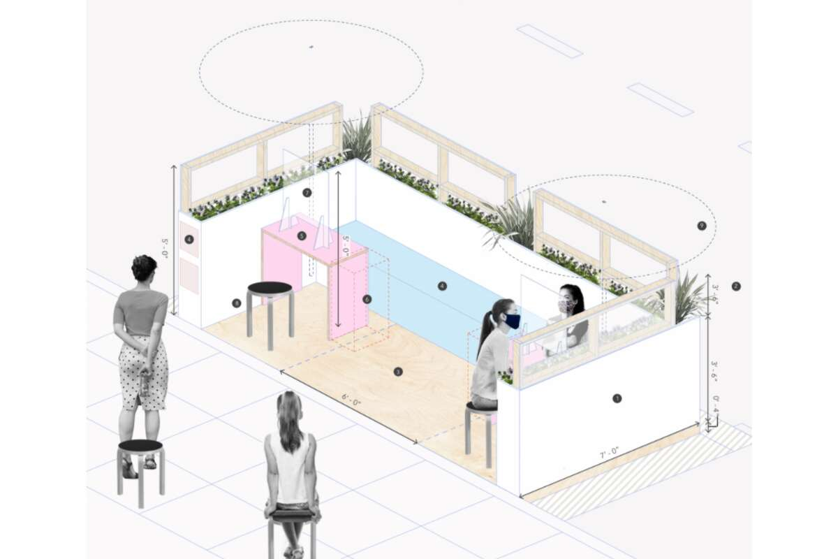 The rendering for the parklet at High Five Nails in NoPa.