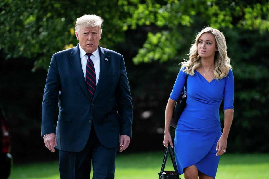President Donald J. Trump walks with Press Secretary Kayleigh McEnany to board Marine One and depart from the South Lawn of the White House on Tuesday, Sept 15, 2020 in Washington, DC. Photo: Washington Post Photo By Jabin Botsford / The Washington Post