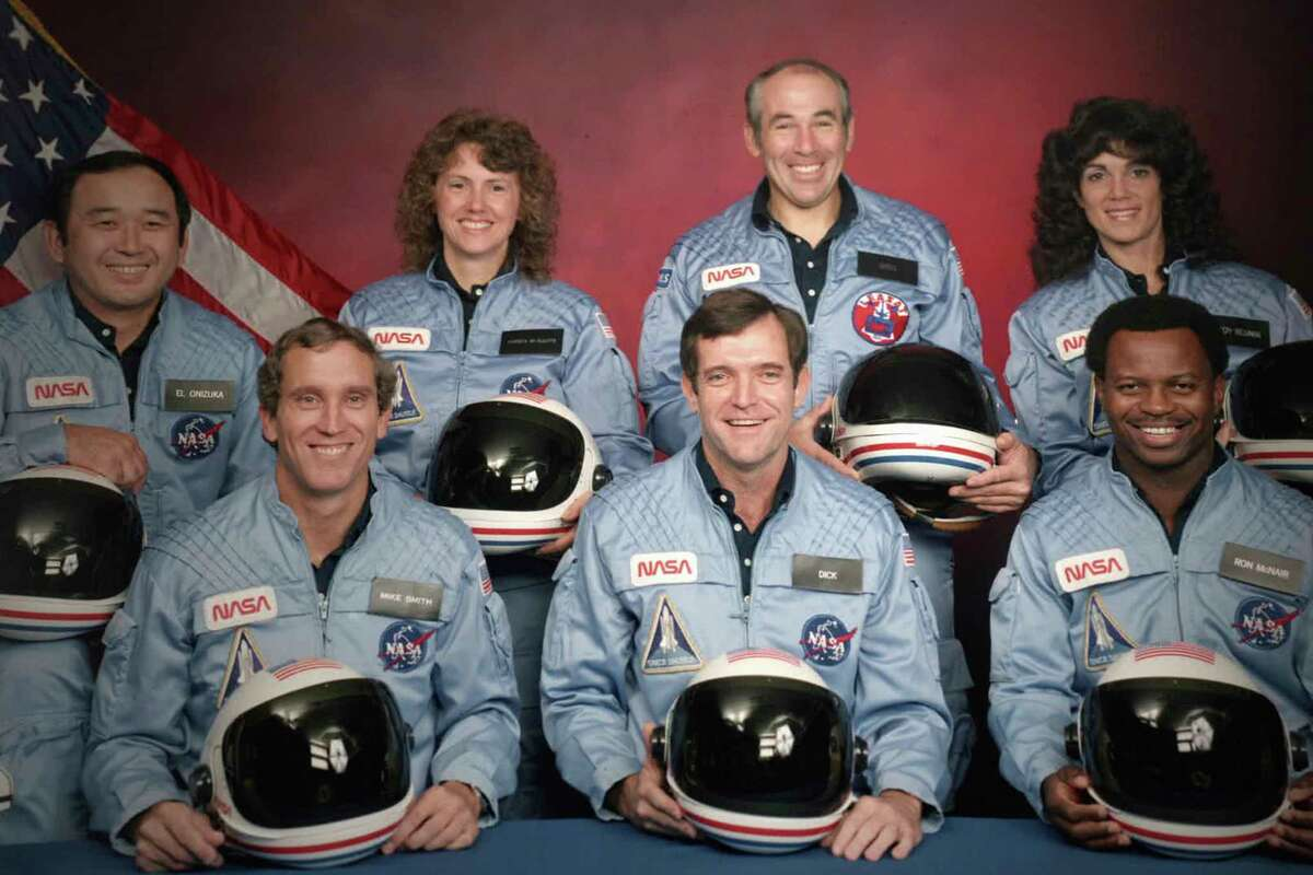 This image released by Netflix shows members of the Challenger 7 crew, from left, Ellison S. Onizuka; Mike Smith; Christa McAuliffe; Dick Scobee; Gregory Jarvis; Judith Resnik; and Ronald McNair in episode 2 of