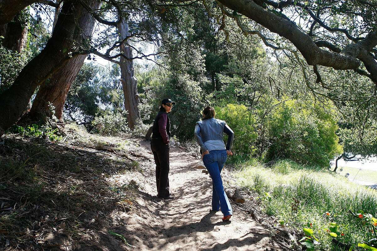 Natural areas manager Lisa Wayne (left) and Sarah Ballard (right)showing the new trail at the McClaren Heights section of the Oak Woodlands trail in Golden Gate park in San Francisco , Calif., on Friday, August 10, 2012. Last weekend more than 200 volunteers built a new trail and cleaned up the northeastern end of Golden Gate Park.