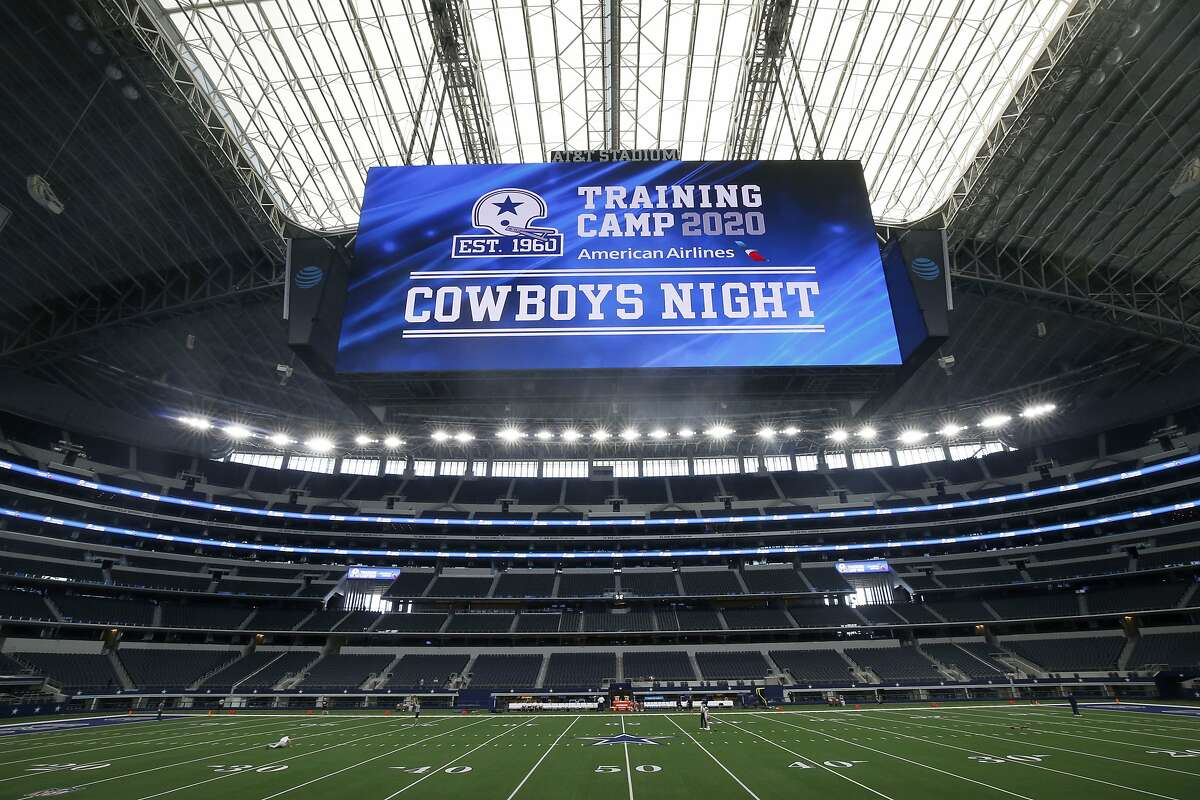AT&T Stadium hosted Cowboys Night where the Dallas Cowboys held practice during an NFL football training camp in Arlington, Texas, Sunday, Aug. 30, 2020. (AP Photo/Michael Ainsworth)