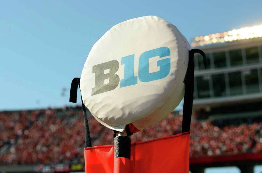MADISON, WI - OCTOBER 21: The Big Ten logo on a yardage marker at the game between the Maryland Terrapins and the Wisconsin Badgers at Camp Randall Stadium on October 21, 2017 in Madison, Wisconsin. (Photo by G Fiume/Maryland Terrapins/Getty Images) Photo: G Fiume / Getty Images / 2017 G Fiume 2017 G Fiume
