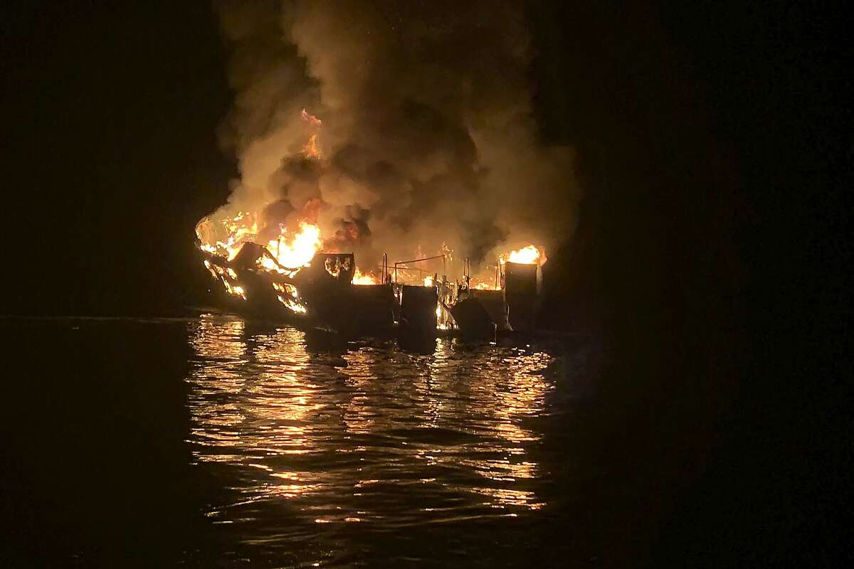 The dive boat Conception is engulfed in flames after a deadly fire broke out aboard the commercial scuba diving vessel killing 34 people in one of the state's deadliest maritime disasters, according to federal documents released Wednesday, Sept. 16, 2020. (Santa Barbara County Fire Department via AP, File)