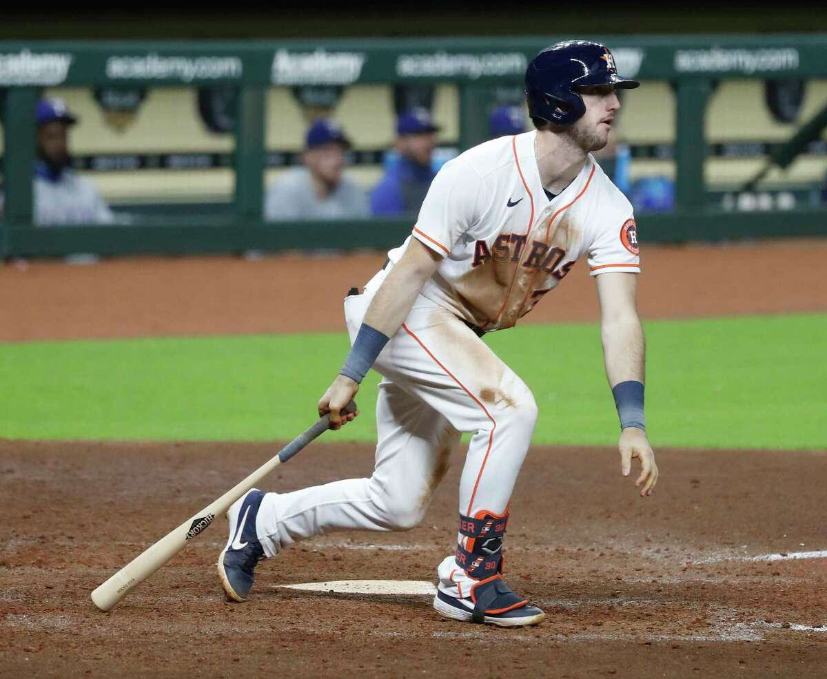 Houston Astros designated hitter Kyle Tucker (30) reacts as he watches his line out to Texas Rangers first baseman Ronald Guzman, ending the game in the bottom of the ninth inning of an MLB baseball game at Minute Maid Park, Wednesday, September 16, 2020, in Houston.