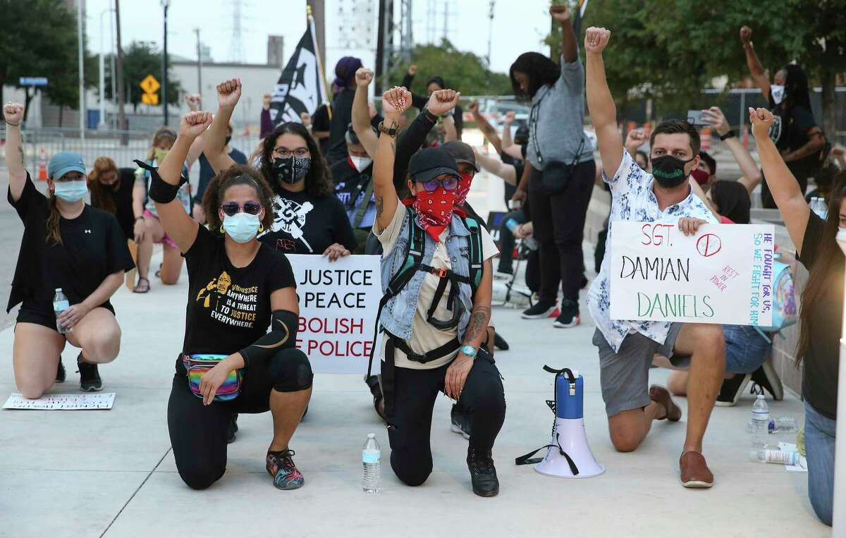 Protesters gather at Bexar County Jail for another evening to air grievances and dismay over the killing of Damian Daniels.