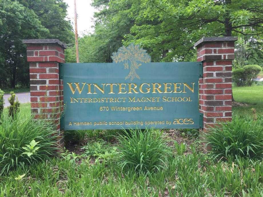 The sign for Wintergreen Interdistrict Magnet School at its former location in Hamden. Photo: Ben Lambert / Hearst Connecticut Media /