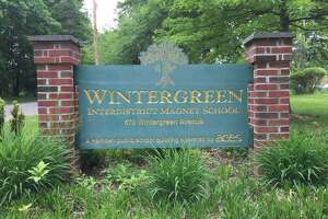The sign for Wintergreen Interdistrict Magnet School at its former location in Hamden.