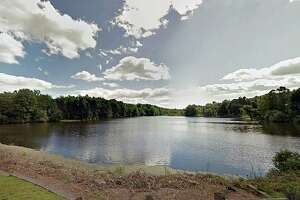 A Google Streetview screenshot showing Paper Goods Pond in Berlin, Conn.